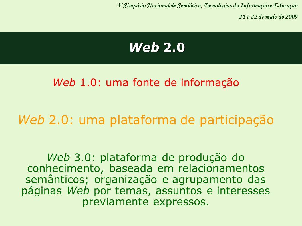 V Simpósio Nacional de Semiótica, Tecnologias da Informação e Educação 21 e 22 de maio de 2009 Web 2.0 Web 1.0: uma fonte de informação Web 2.0: uma p