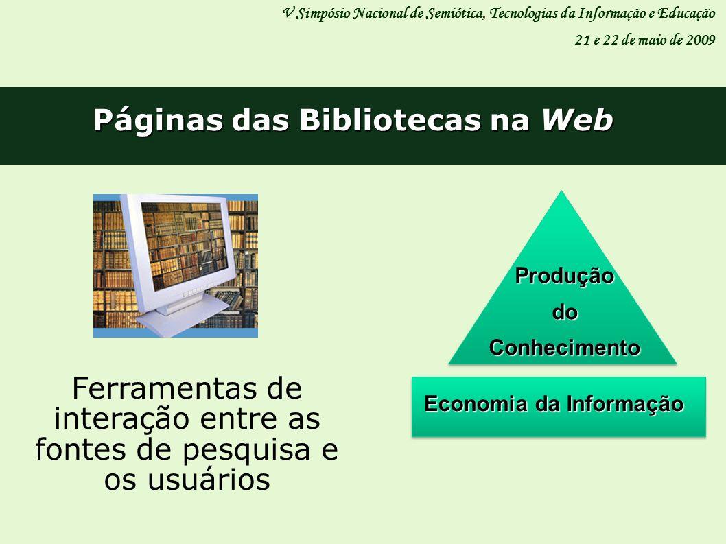 Páginas das Bibliotecas na Web V Simpósio Nacional de Semiótica, Tecnologias da Informação e Educação 21 e 22 de maio de 2009 Ferramentas de interação