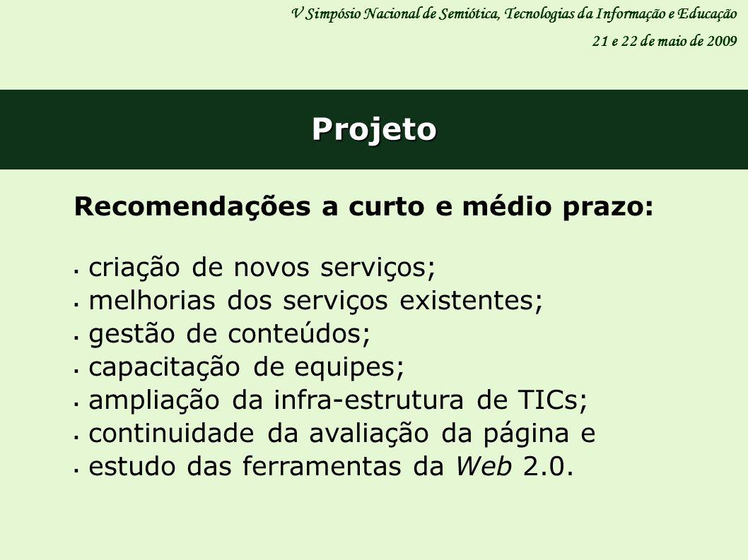 V Simpósio Nacional de Semiótica, Tecnologias da Informação e Educação 21 e 22 de maio de 2009 Projeto Recomendações a curto e médio prazo: criação de