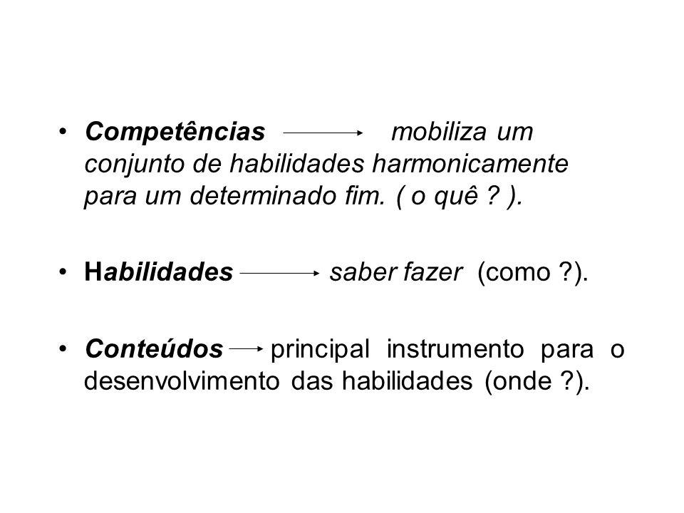 Competências mobiliza um conjunto de habilidades harmonicamente para um determinado fim.