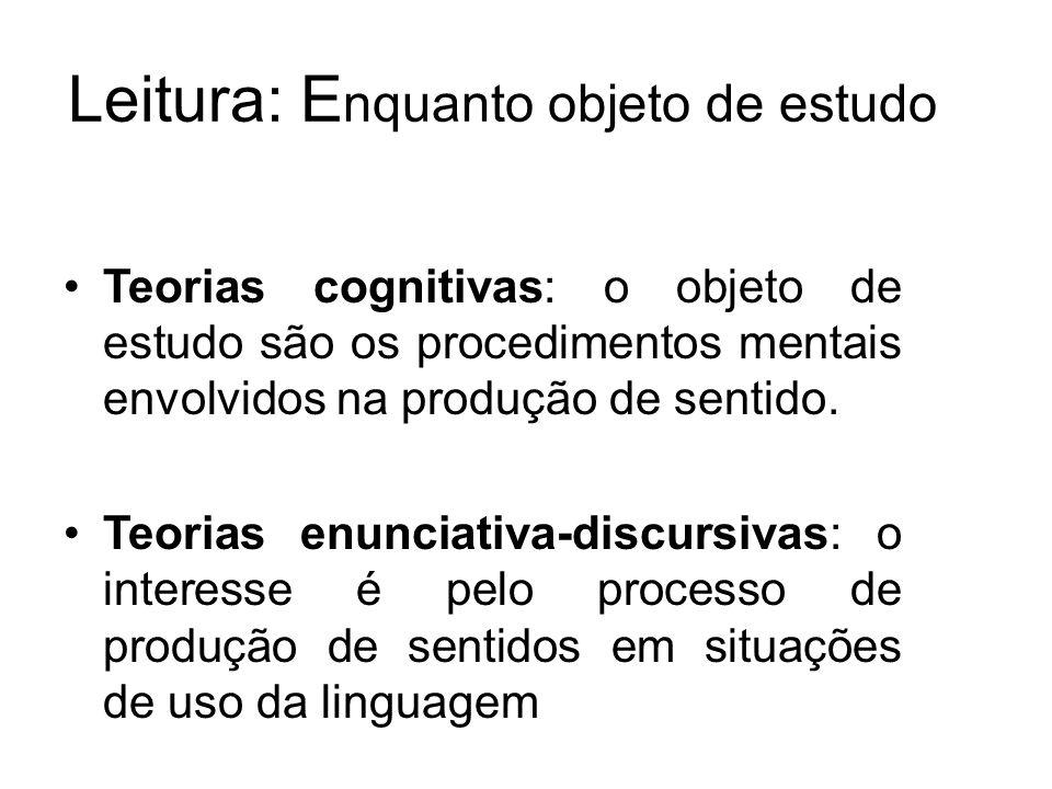 Leitura: E nquanto objeto de estudo Teorias cognitivas: o objeto de estudo são os procedimentos mentais envolvidos na produção de sentido.