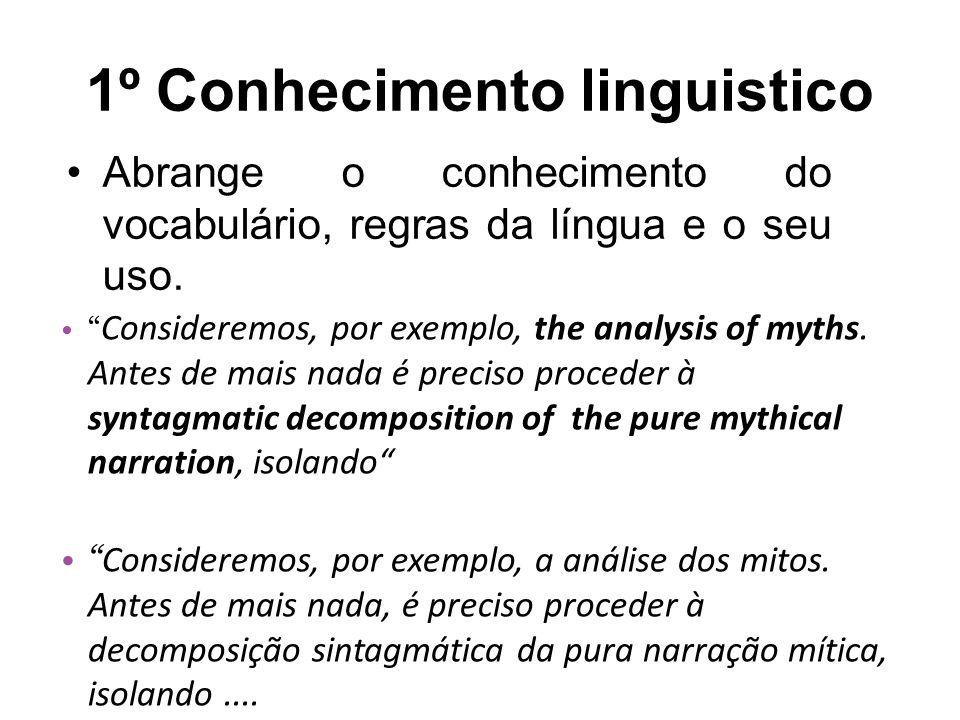 1º Conhecimento linguistico Abrange o conhecimento do vocabulário, regras da língua e o seu uso.