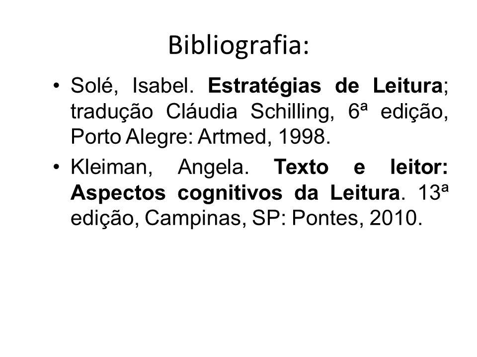 Bibliografia: Solé, Isabel.