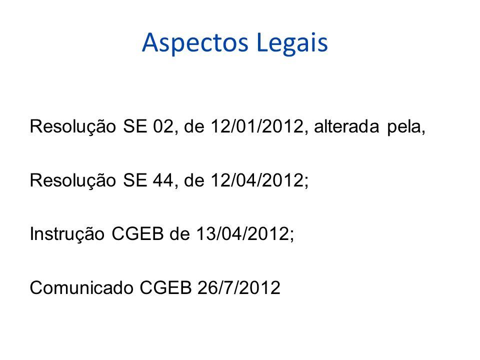 Aspectos Legais Resolução SE 02, de 12/01/2012, alterada pela, Resolução SE 44, de 12/04/2012; Instrução CGEB de 13/04/2012; Comunicado CGEB 26/7/2012