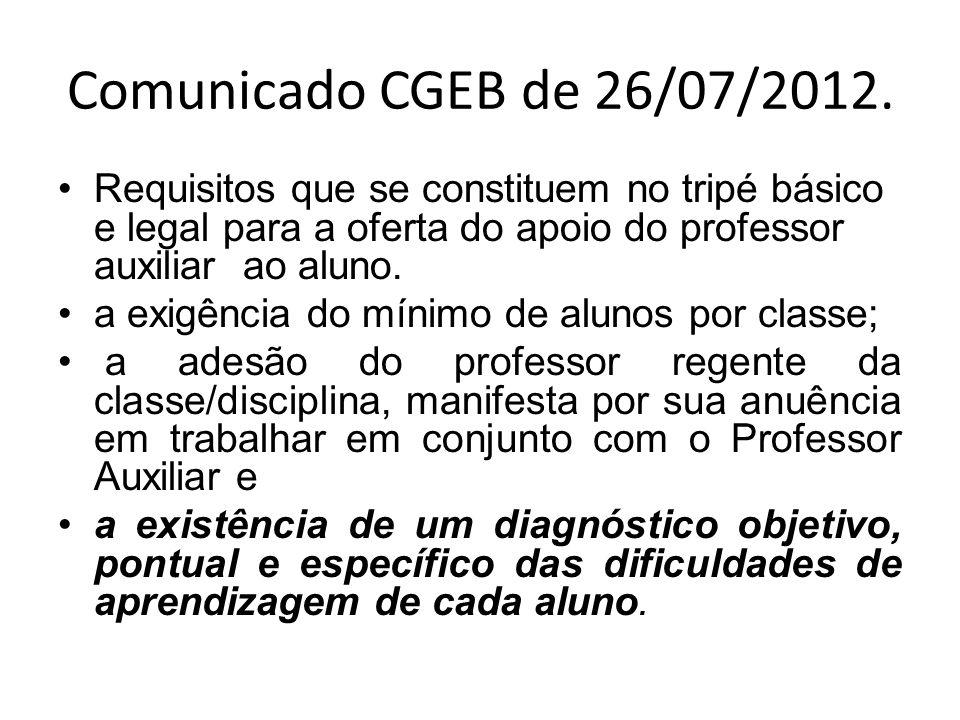 Comunicado CGEB de 26/07/2012.