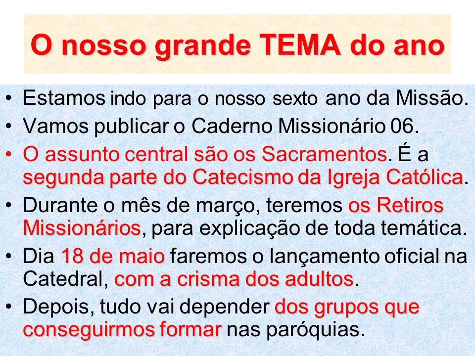 O nosso grande TEMA do ano Estamos indo para o nosso sexto ano da Missão. Vamos publicar o Caderno Missionário 06. segunda parte do Catecismo da Igrej