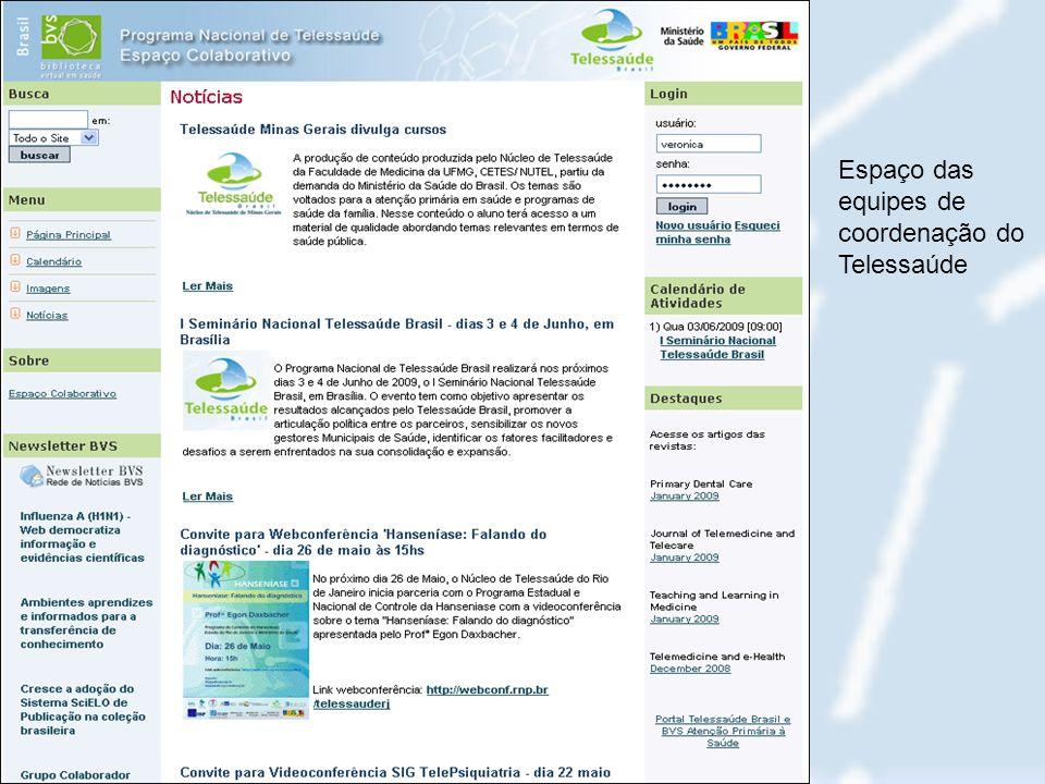 Espaço das equipes de coordenação do Telessaúde