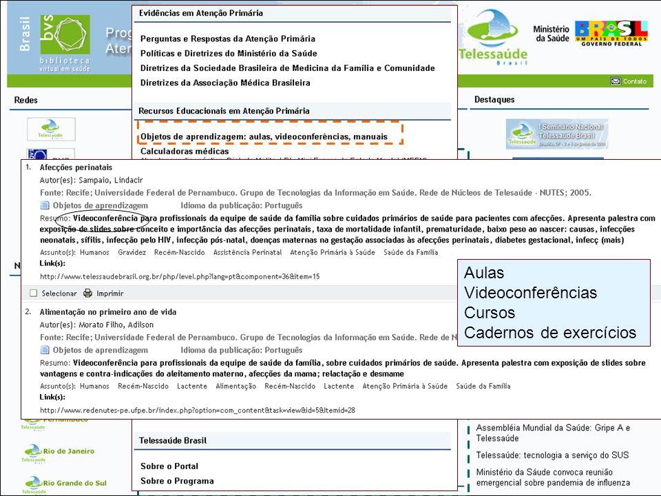 Coleção de Fontes de Informação Aulas Videoconferências Cursos Cadernos de exercícios
