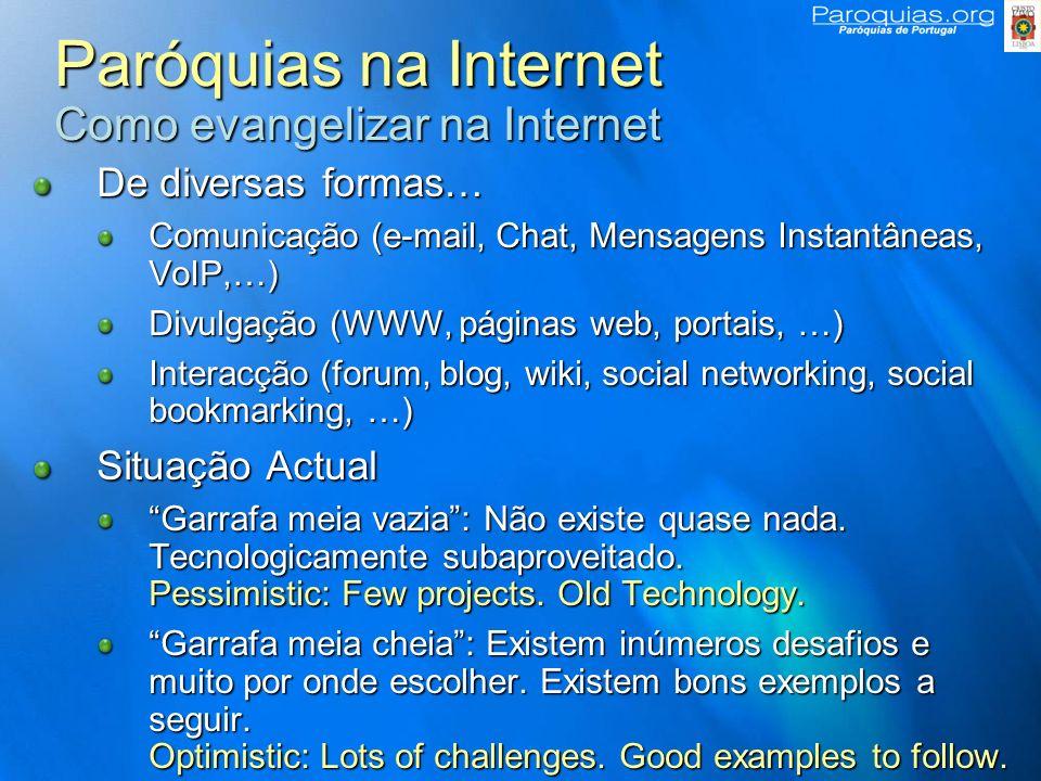 Paróquias na Internet Por onde começar Objectivos – O que quero fazer.