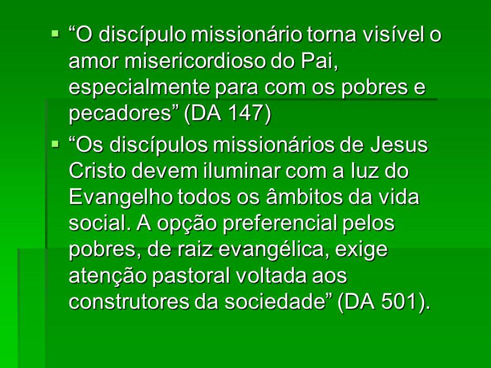 O discípulo missionário torna visível o amor misericordioso do Pai, especialmente para com os pobres e pecadores (DA 147) O discípulo missionário torn