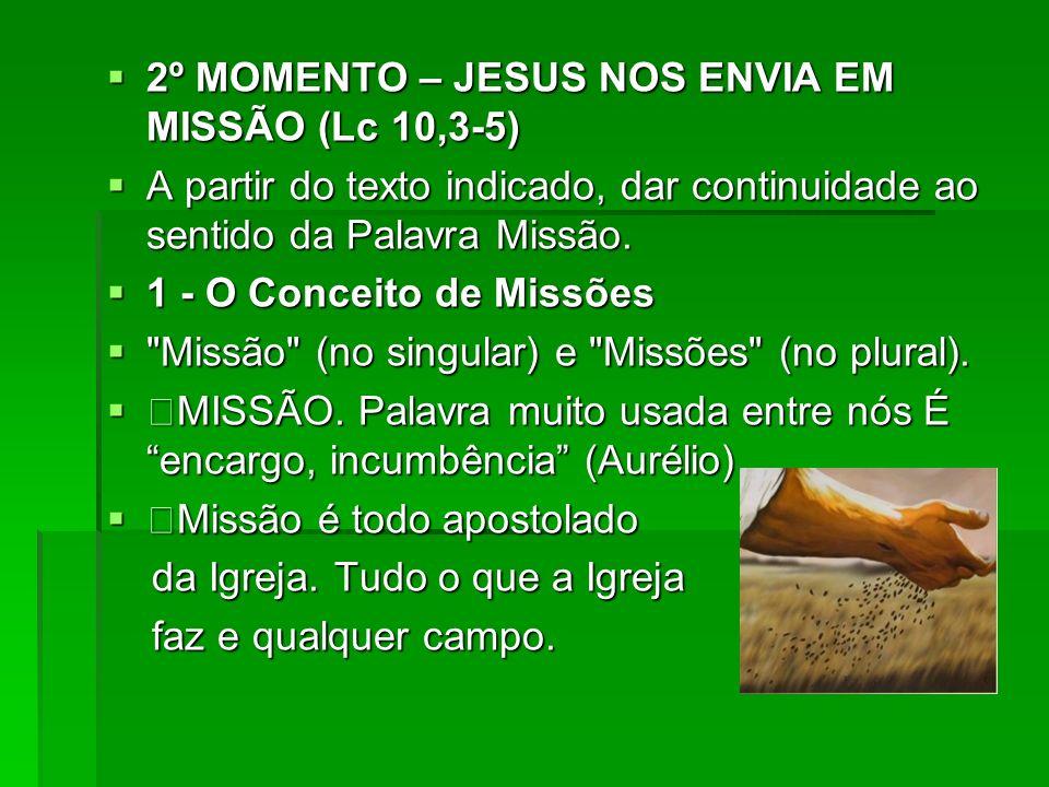 2º MOMENTO – JESUS NOS ENVIA EM MISSÃO (Lc 10,3-5) 2º MOMENTO – JESUS NOS ENVIA EM MISSÃO (Lc 10,3-5) A partir do texto indicado, dar continuidade ao