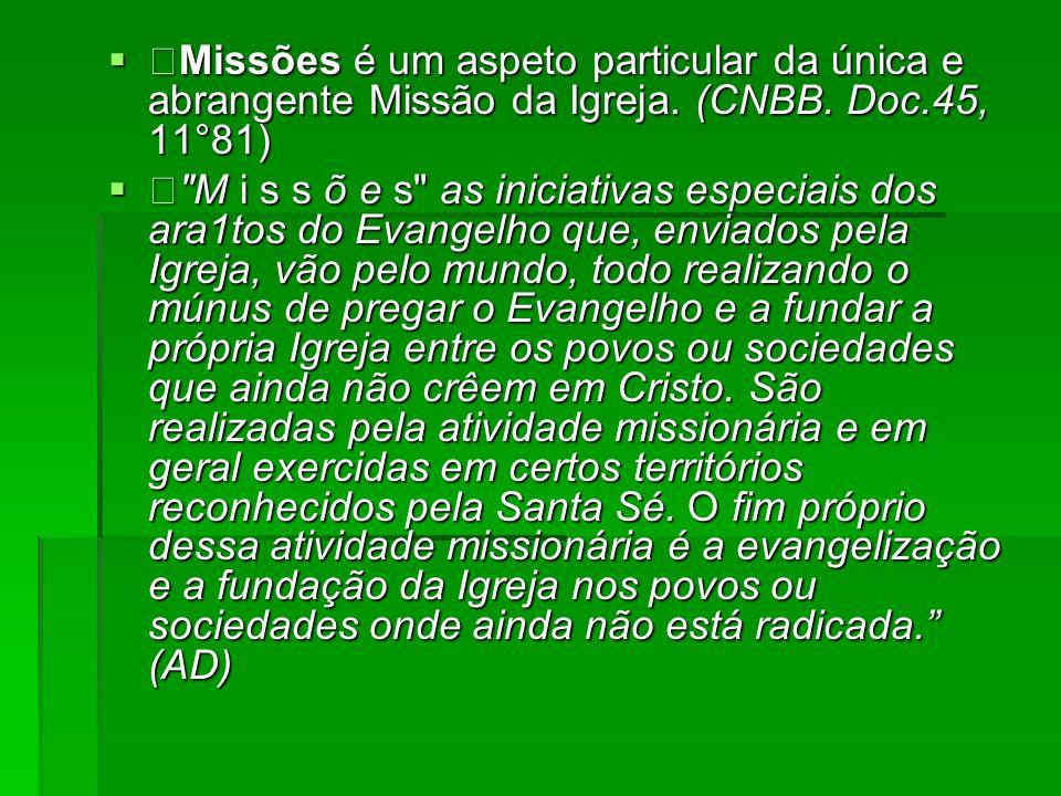 Missões é um aspeto particular da única e abrangente Missão da Igreja. (CNBB. Doc.45, 11°81) Missões é um aspeto particular da única e abrangente Miss