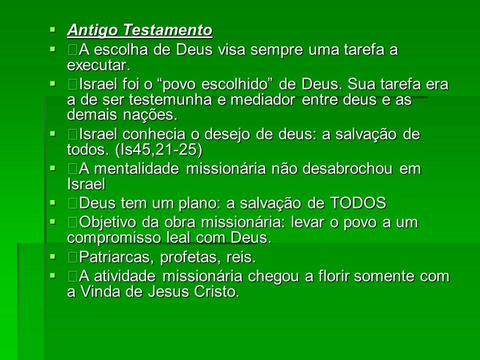 Antigo Testamento Antigo Testamento A escolha de Deus visa sempre uma tarefa a executar. A escolha de Deus visa sempre uma tarefa a executar. Israel f