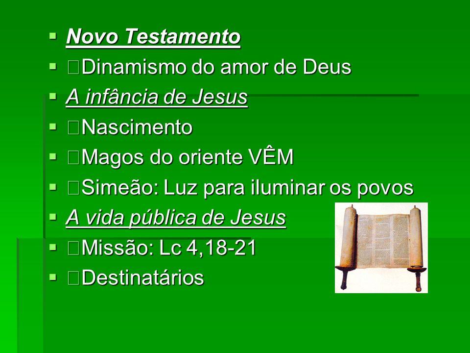 Novo Testamento Novo Testamento Dinamismo do amor de Deus Dinamismo do amor de Deus A infância de Jesus A infância de Jesus Nascimento Nascimento Mago