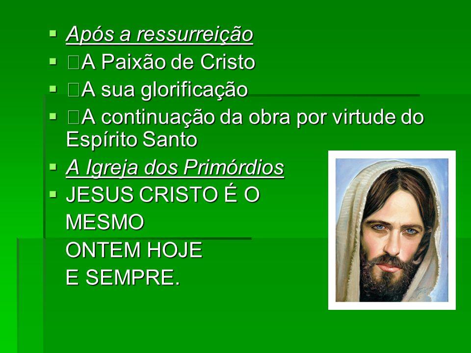 Após a ressurreição Após a ressurreição A Paixão de Cristo A Paixão de Cristo A sua glorificação A sua glorificação A continuação da obra por virtude
