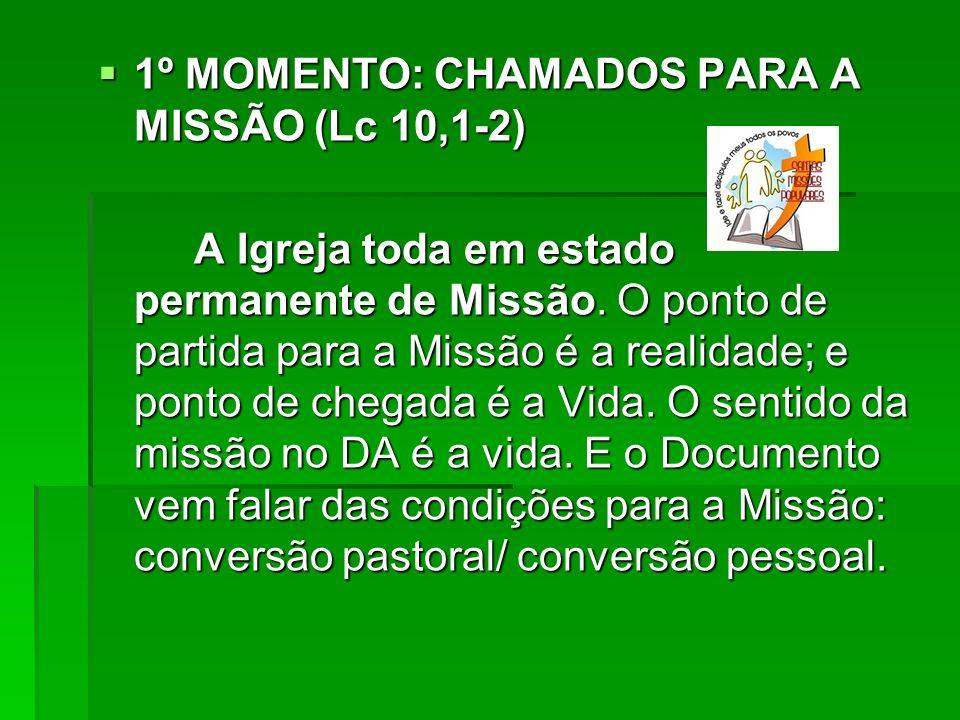 1º MOMENTO: CHAMADOS PARA A MISSÃO (Lc 10,1-2) 1º MOMENTO: CHAMADOS PARA A MISSÃO (Lc 10,1-2) A Igreja toda em estado permanente de Missão. O ponto de