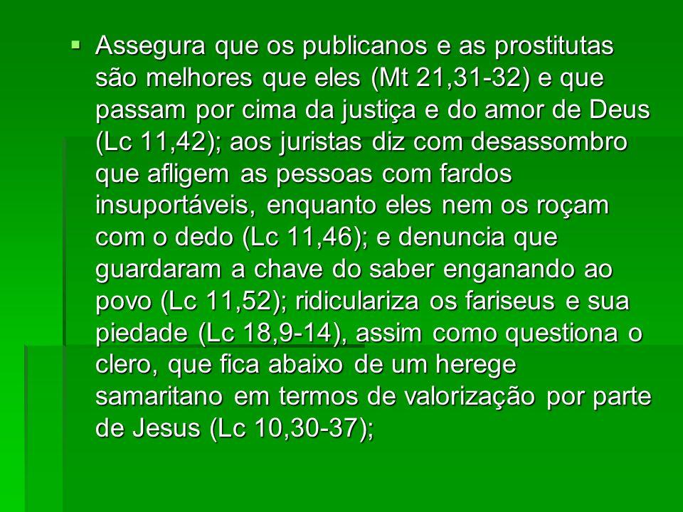 Assegura que os publicanos e as prostitutas são melhores que eles (Mt 21,31-32) e que passam por cima da justiça e do amor de Deus (Lc 11,42); aos jur