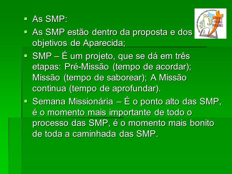 As SMP: As SMP: As SMP estão dentro da proposta e dos objetivos de Aparecida; As SMP estão dentro da proposta e dos objetivos de Aparecida; SMP – É um