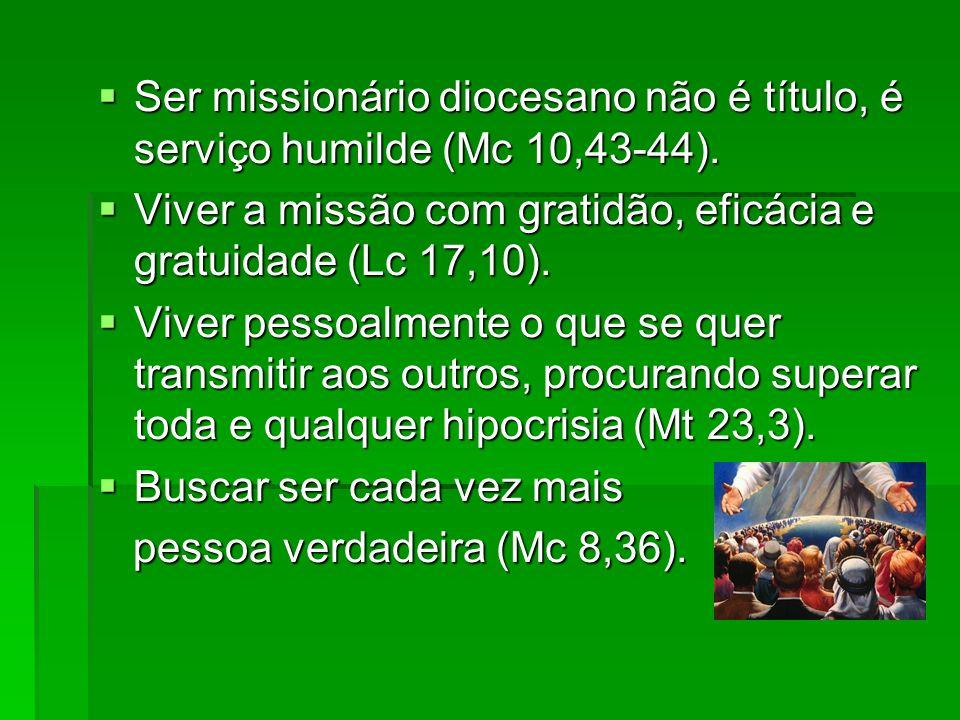 Ser missionário diocesano não é título, é serviço humilde (Mc 10,43-44). Ser missionário diocesano não é título, é serviço humilde (Mc 10,43-44). Vive