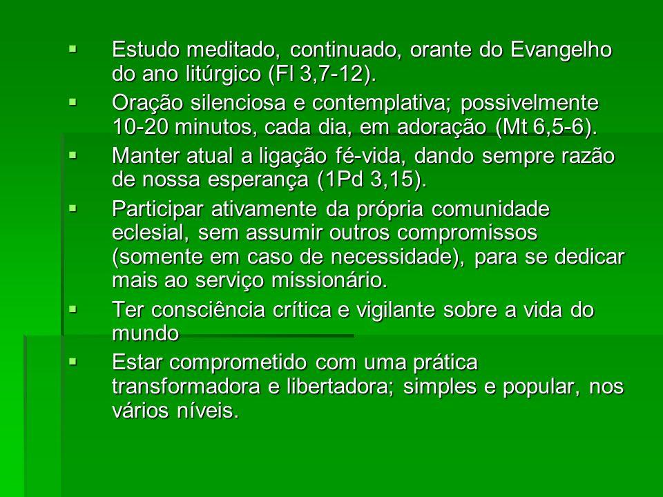 Estudo meditado, continuado, orante do Evangelho do ano litúrgico (Fl 3,7-12). Estudo meditado, continuado, orante do Evangelho do ano litúrgico (Fl 3