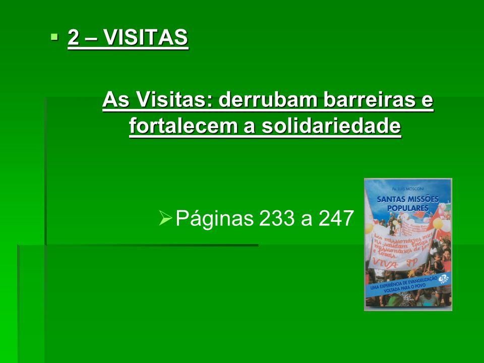 2 – VISITAS 2 – VISITAS As Visitas: derrubam barreiras e fortalecem a solidariedade As Visitas: derrubam barreiras e fortalecem a solidariedade Página