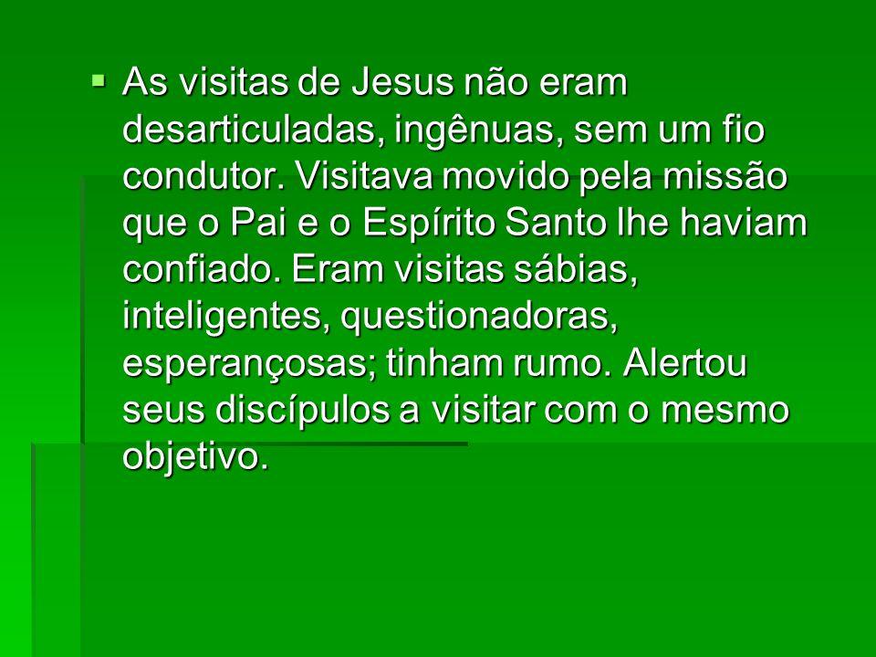 As visitas de Jesus não eram desarticuladas, ingênuas, sem um fio condutor. Visitava movido pela missão que o Pai e o Espírito Santo lhe haviam confia