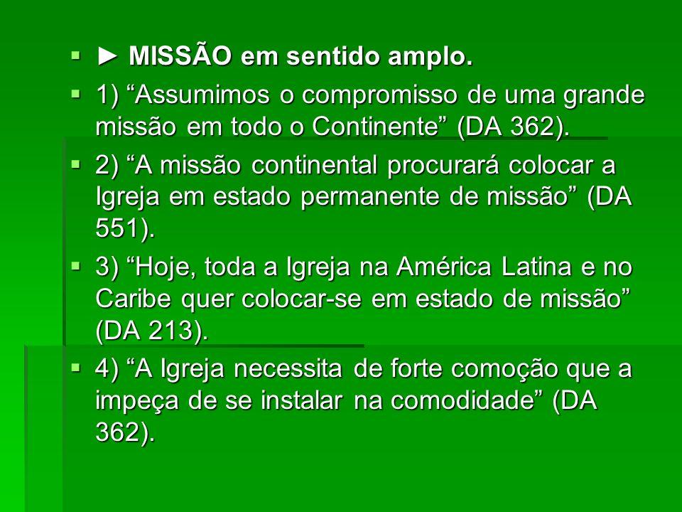 MISSÃO em sentido amplo. MISSÃO em sentido amplo. 1) Assumimos o compromisso de uma grande missão em todo o Continente (DA 362). 1) Assumimos o compro