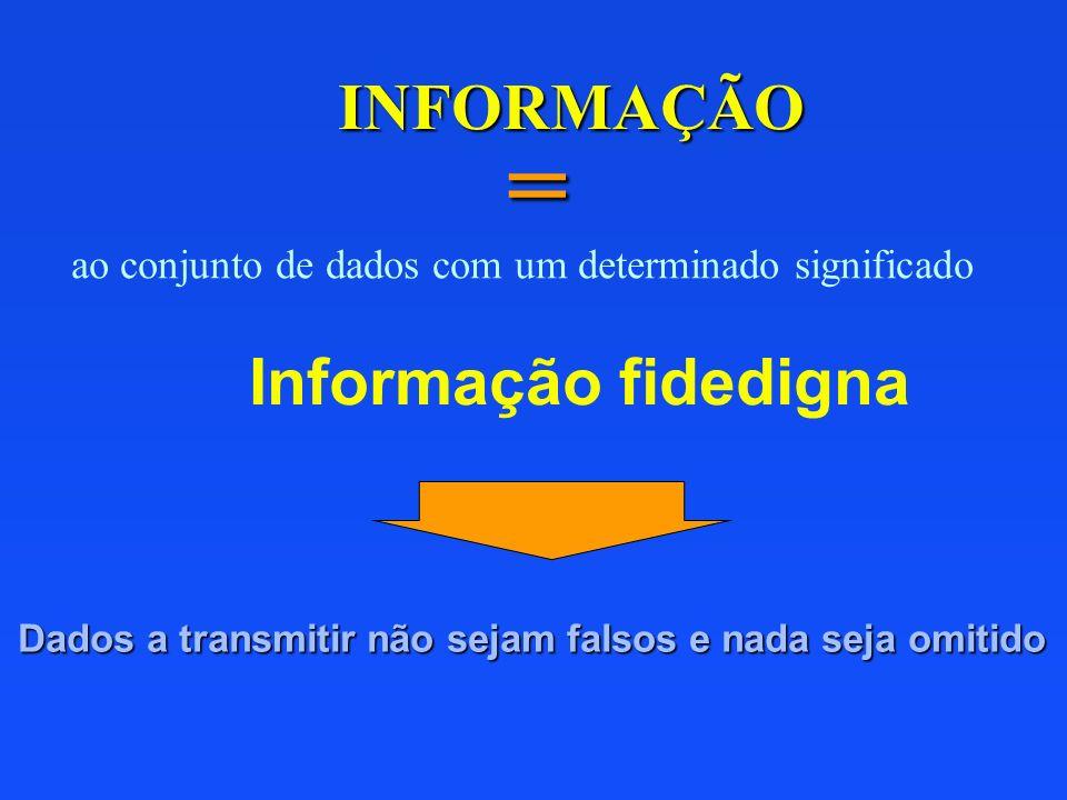 INFORMAÇÃO = ao conjunto de dados com um determinado significado Informação fidedigna Dados a transmitir não sejam falsos e nada seja omitido