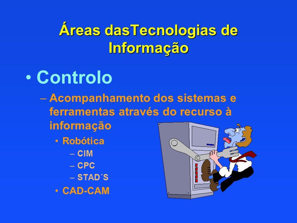 Controlo –Acompanhamento dos sistemas e ferramentas através do recurso à informação Robótica –CIM –CPC –STAD´S CAD-CAM Áreas dasTecnologias de Informa