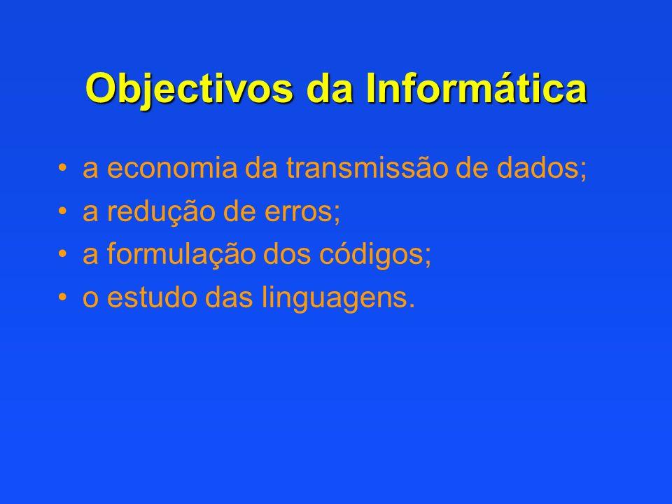 Objectivos da Informática a economia da transmissão de dados; a redução de erros; a formulação dos códigos; o estudo das linguagens.