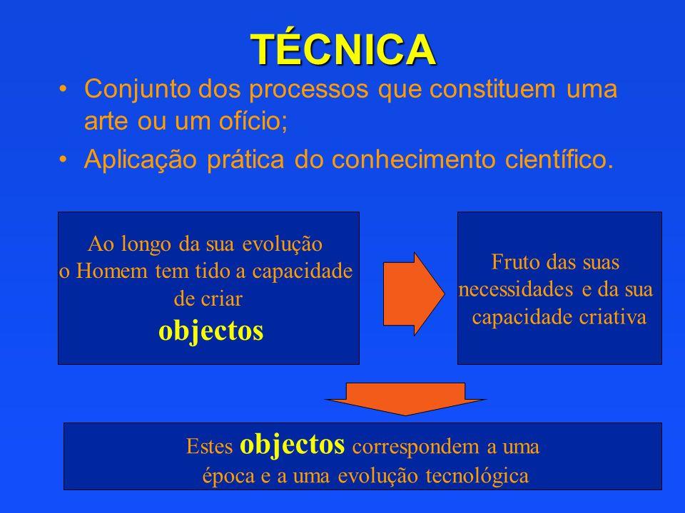 TÉCNICA Conjunto dos processos que constituem uma arte ou um ofício; Aplicação prática do conhecimento científico. Ao longo da sua evolução o Homem te