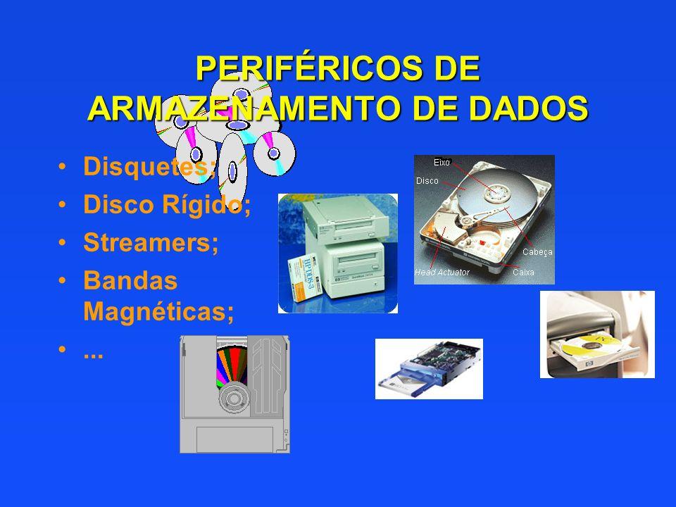 PERIFÉRICOS DE ARMAZENAMENTO DE DADOS Disquetes; Disco Rígido; Streamers; Bandas Magnéticas;...