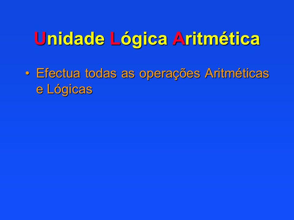 Unidade Lógica Aritmética Efectua todas as operações Aritméticas e LógicasEfectua todas as operações Aritméticas e Lógicas