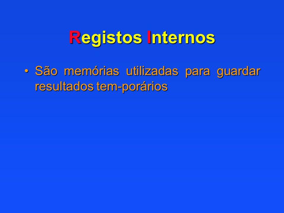 Registos Internos São memórias utilizadas para guardar resultados tem-poráriosSão memórias utilizadas para guardar resultados tem-porários