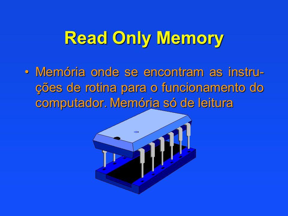 Read Only Memory Memória onde se encontram as instru- ções de rotina para o funcionamento do computador. Memória só de leituraMemória onde se encontra