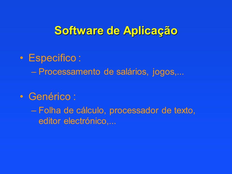 Software de Aplicação Especifico : –Processamento de salários, jogos,... Genérico : –Folha de cálculo, processador de texto, editor electrónico,...