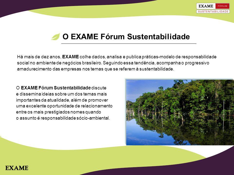 Motivos para patrocinar Associar a marca às boas práticas de sustentabilidade Expor a marca em meios a grandes nomes da economia brasileira Associar a marca com a chancela EXAME Fórum Sustentabilidade Associar a marca às boas práticas de sustentabilidade