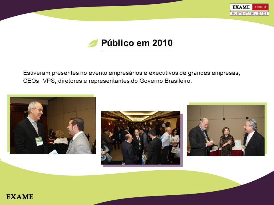 Estiveram presentes no evento empresários e executivos de grandes empresas, CEOs, VPS, diretores e representantes do Governo Brasileiro. Público em 20