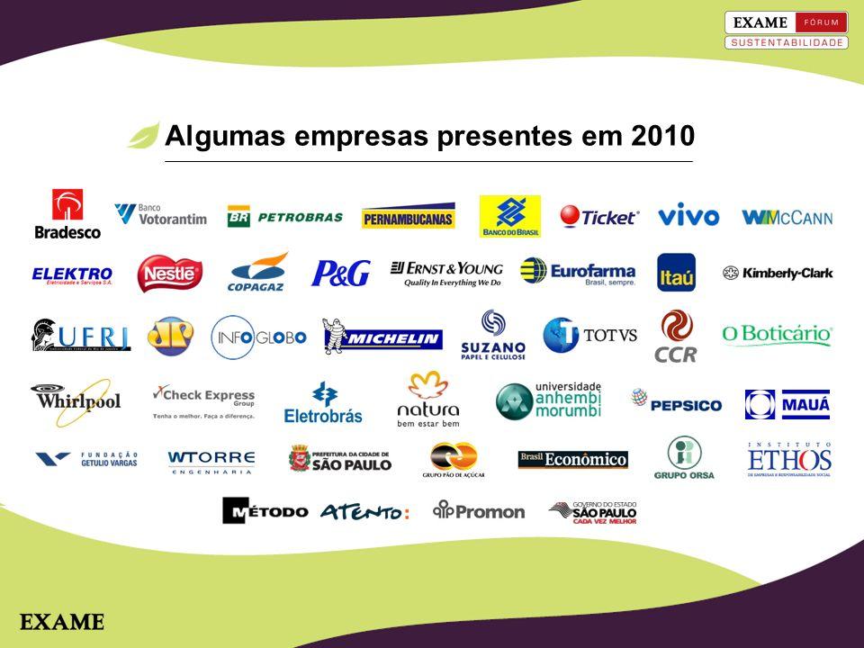 Algumas empresas presentes em 2010