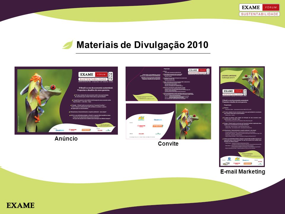 Materiais de Divulgação 2010 Anúncio E-mail Marketing Convite