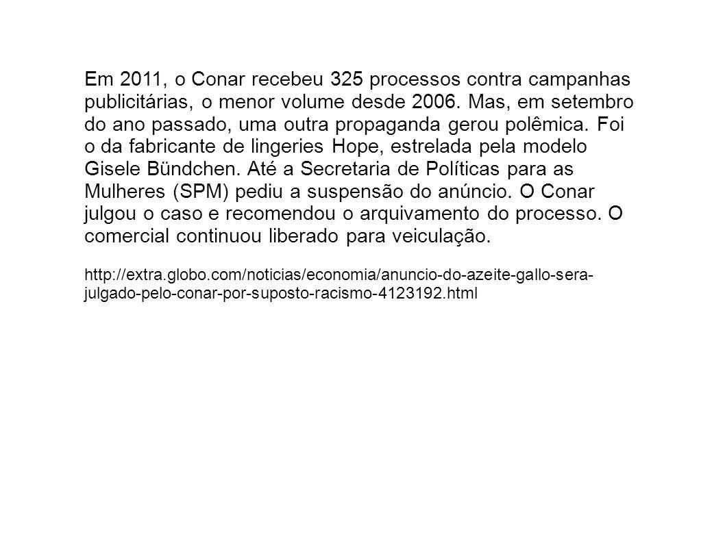 Em 2011, o Conar recebeu 325 processos contra campanhas publicitárias, o menor volume desde 2006.