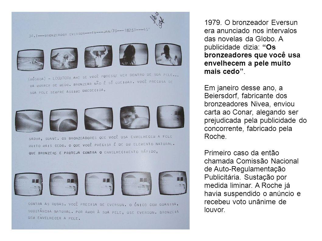 1979. O bronzeador Eversun era anunciado nos intervalos das novelas da Globo. A publicidade dizia: Os bronzeadores que você usa envelhecem a pele muit