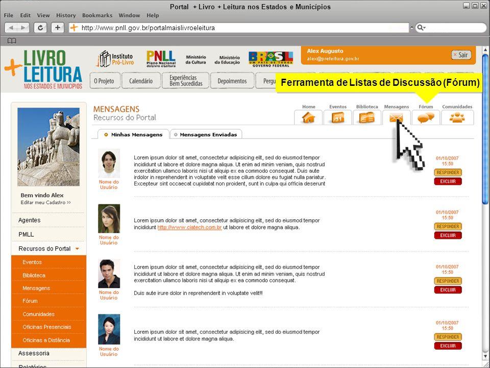 Portal + Livro + Leitura nos Estados e Municípios http://www.pnll.gov.br/portalmaislivroeleitura Ferramenta de Listas de Discussão (Fórum)