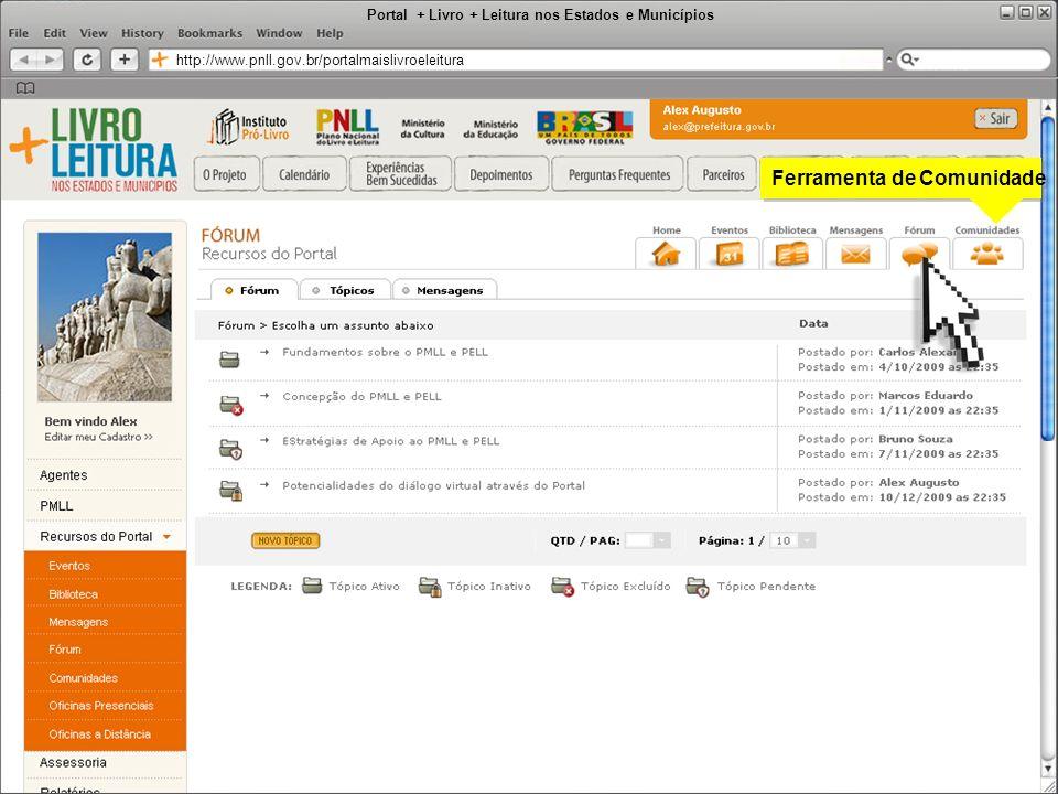 Portal + Livro + Leitura nos Estados e Municípios http://www.pnll.gov.br/portalmaislivroeleitura Ferramenta de Comunidade