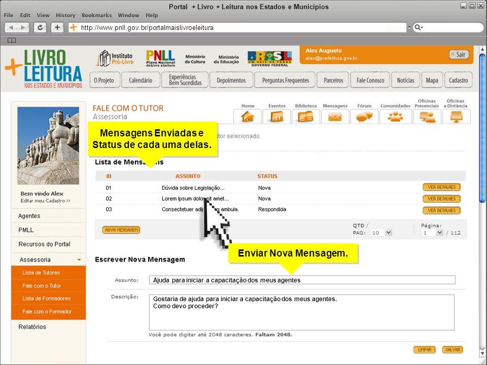 Portal + Livro + Leitura nos Estados e Municípios http://www.pnll.gov.br/portalmaislivroeleitura Mensagens Enviadas e Status de cada uma delas. Mensag