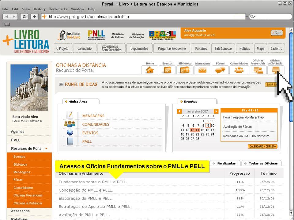 Portal + Livro + Leitura nos Estados e Municípios http://www.pnll.gov.br/portalmaislivroeleitura Acesso à Oficina Fundamentos sobre o PMLL e PELL