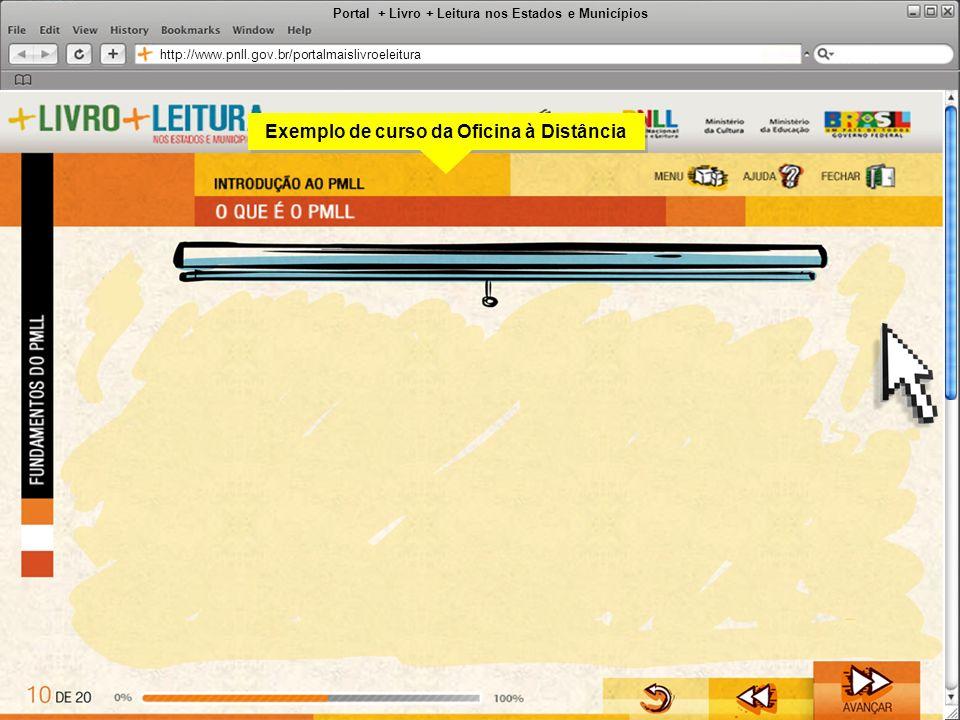 Portal + Livro + Leitura nos Estados e Municípios http://www.pnll.gov.br/portalmaislivroeleitura Exemplo de curso da Oficina à Distância