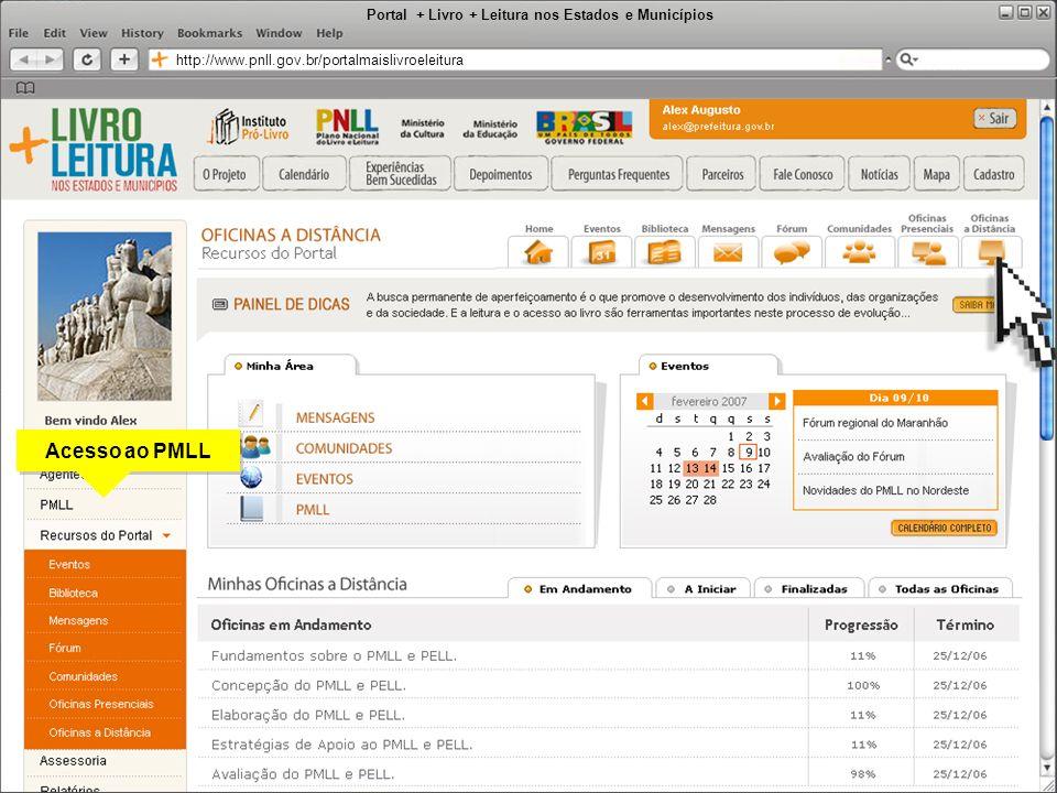 Portal + Livro + Leitura nos Estados e Municípios http://www.pnll.gov.br/portalmaislivroeleitura Acesso ao PMLL