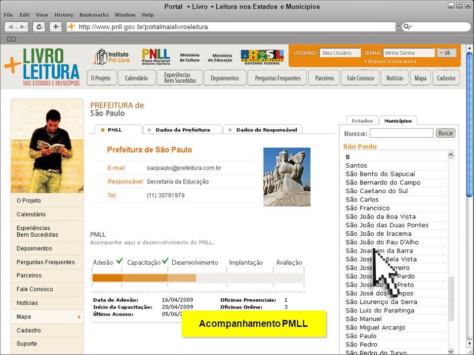 Portal + Livro + Leitura nos Estados e Municípios http://www.pnll.gov.br/portalmaislivroeleitura Acompanhamento PMLL
