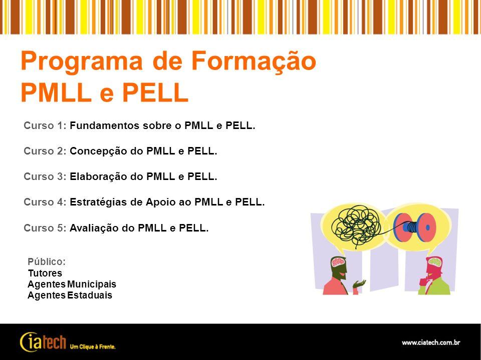 Curso 1: Fundamentos sobre o PMLL e PELL. Curso 2: Concepção do PMLL e PELL. Curso 3: Elaboração do PMLL e PELL. Curso 4: Estratégias de Apoio ao PMLL